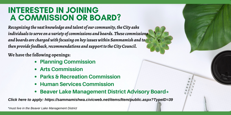 City of Sammamish Commission & Board Openings!